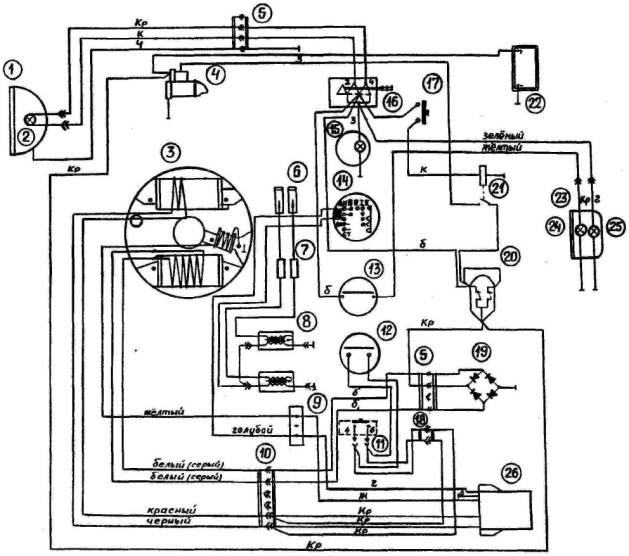 Рис. 19 - Схема электрооборудова ния (с электропуском).  1 - фара; 2- лампа АКГ12-60+55-1; 3- основание магдино...